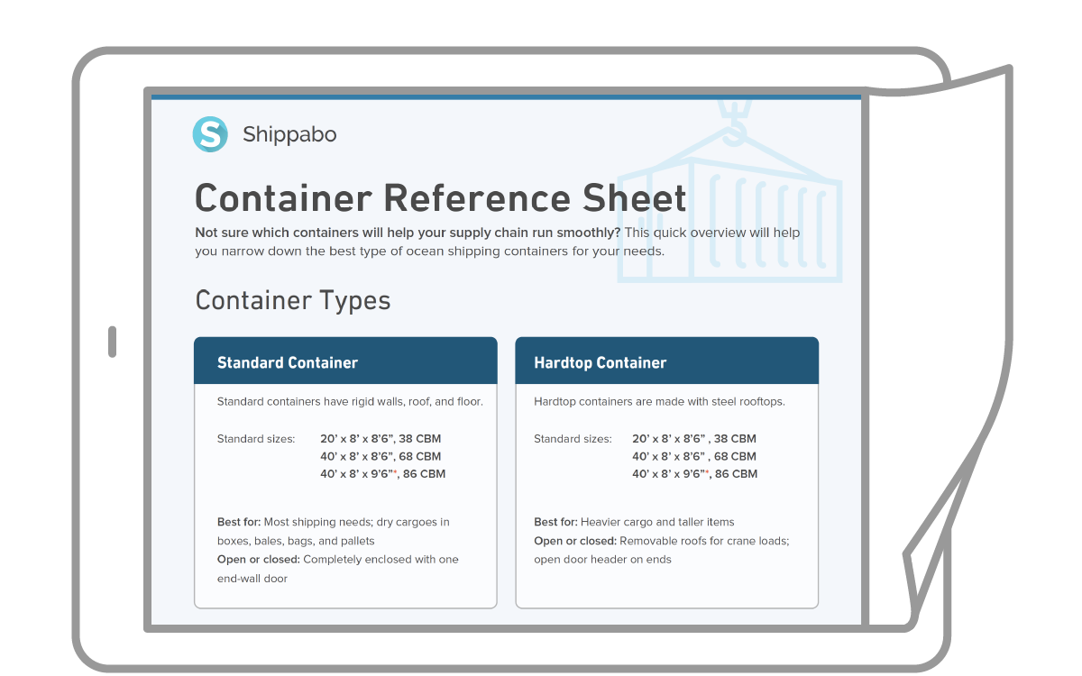 Application icon Shipping Container Reference Sheet