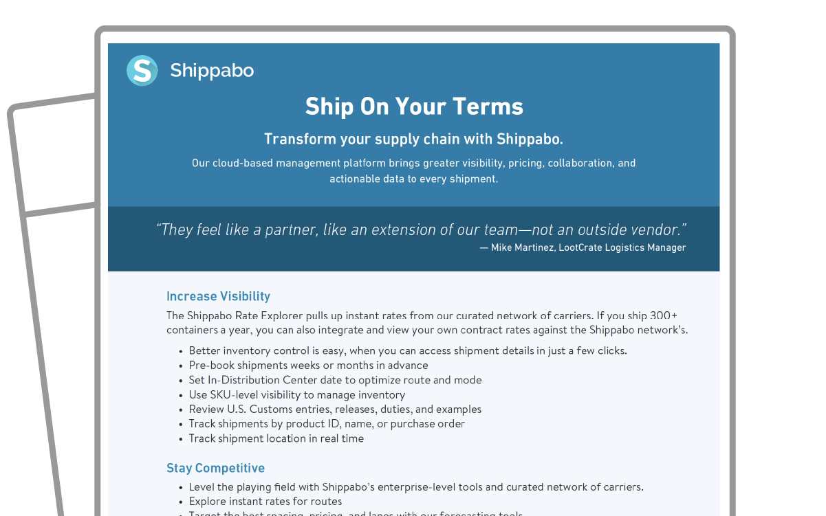 One Pager icon How to Ship On Your Terms