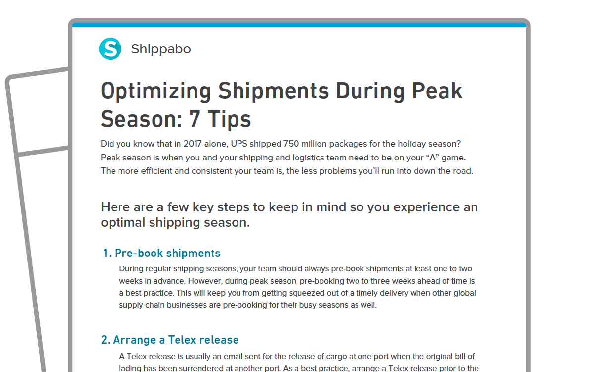 One Sheet icon Optimizing Shipments During Peak Season 7 Tips