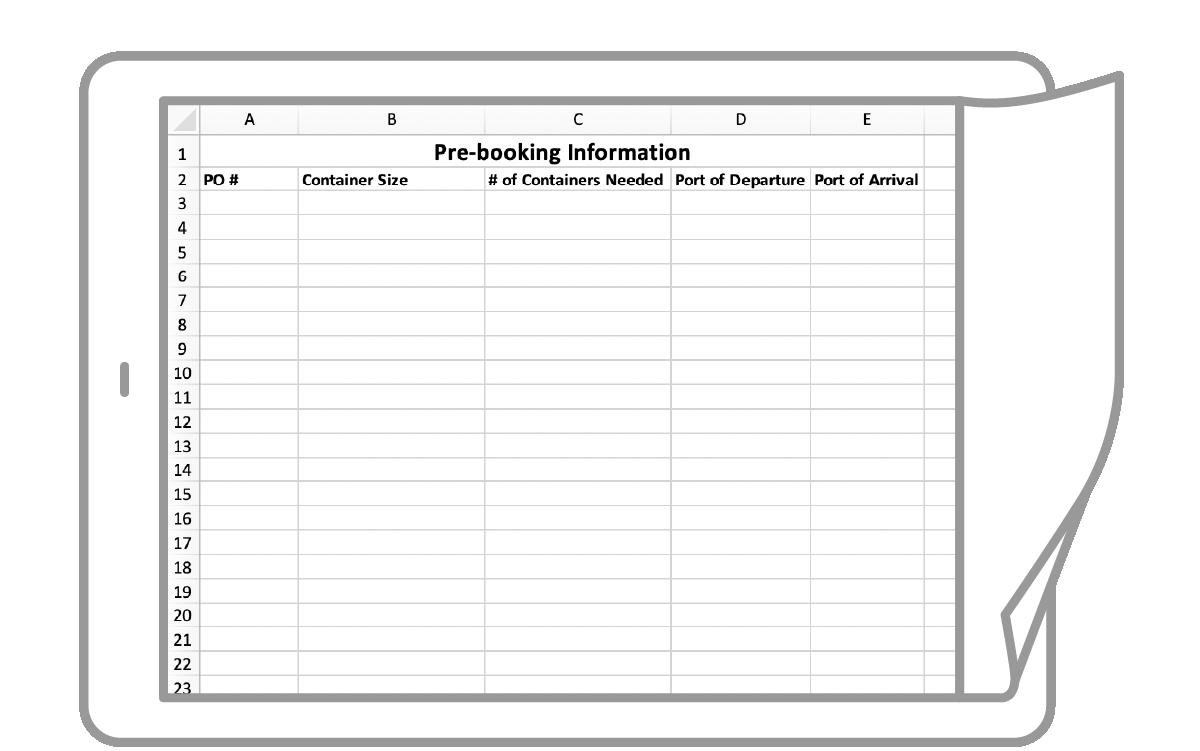 Application icon Prebooking Request Template